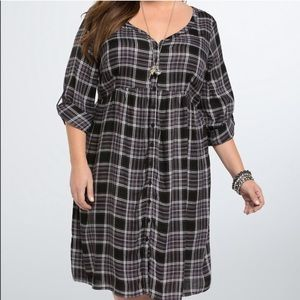 Torrid size 2 plaid button down dress